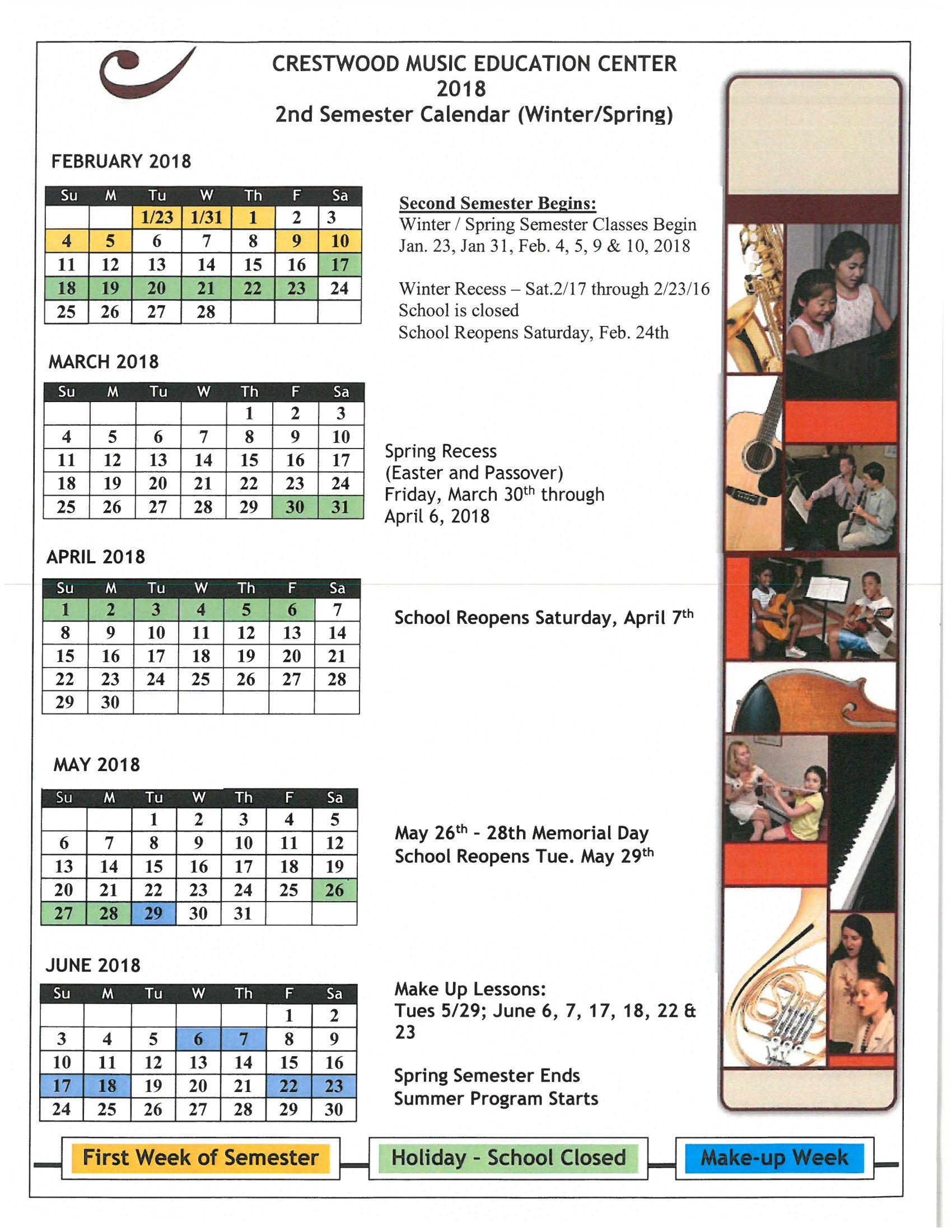 winter spring calendar 2018