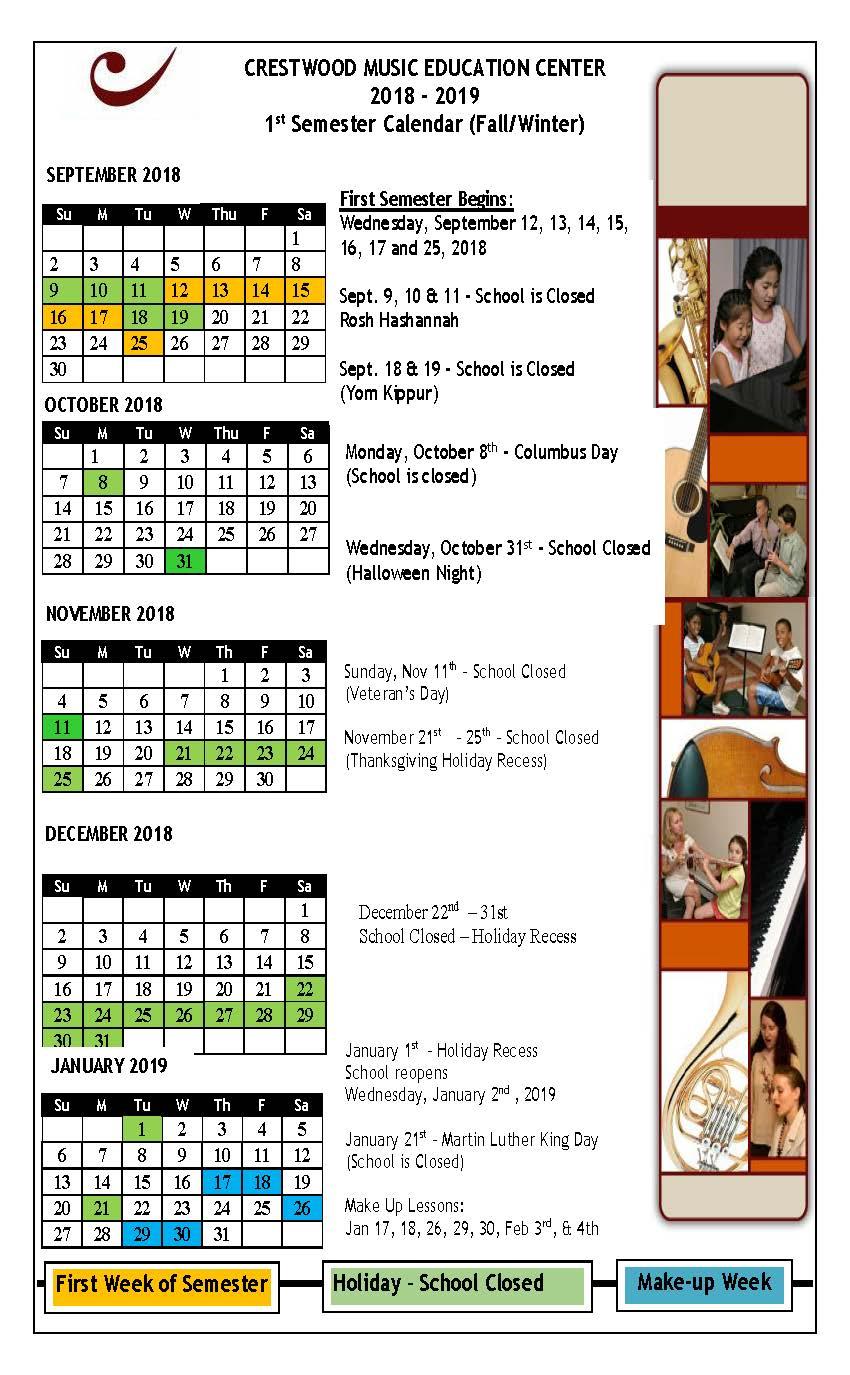 Fall-Winter Calendar