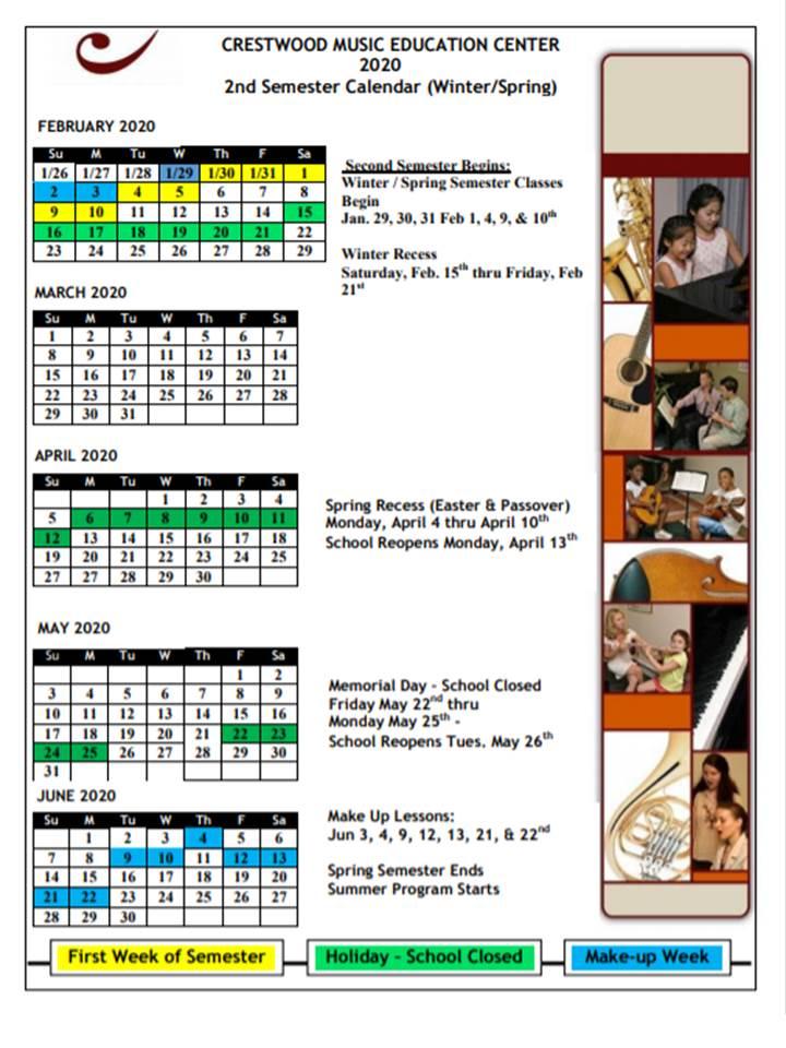 Winter Spring Calendar 2020