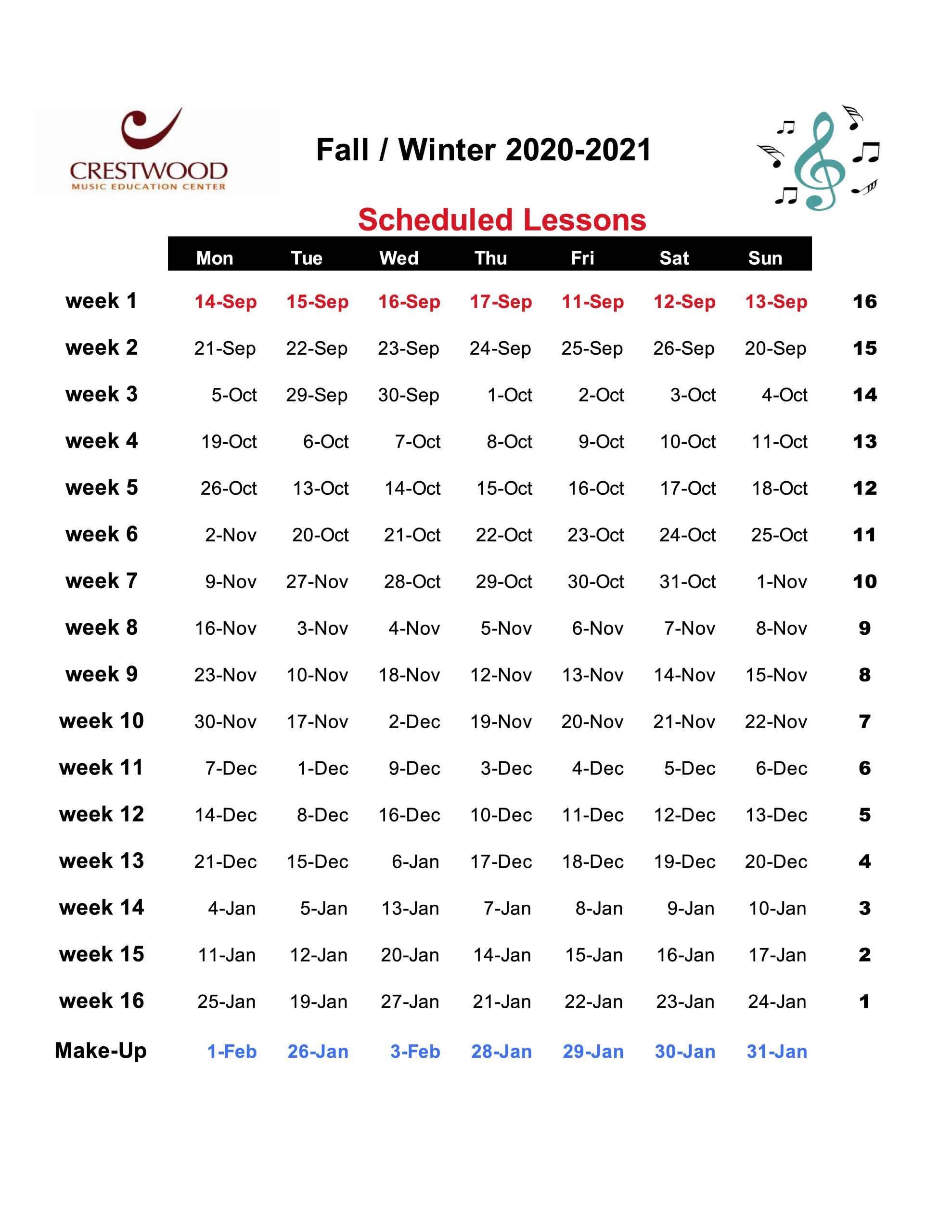Fall/Winter Sessions 2020-2021